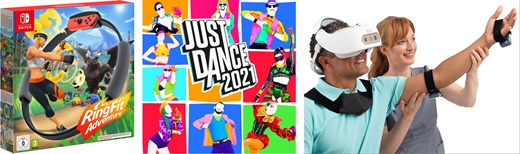 Nintendo Ring Fit Adventure, Just Dance Now, Real System의 제품 사진. ⓒ 각 제조사 홈페이지